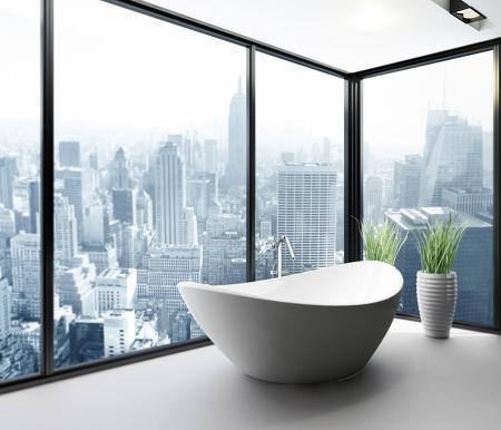 Poze Baie - Baie cu cada in forma de ou si cu panorama, intr-un apartament de lux din New York