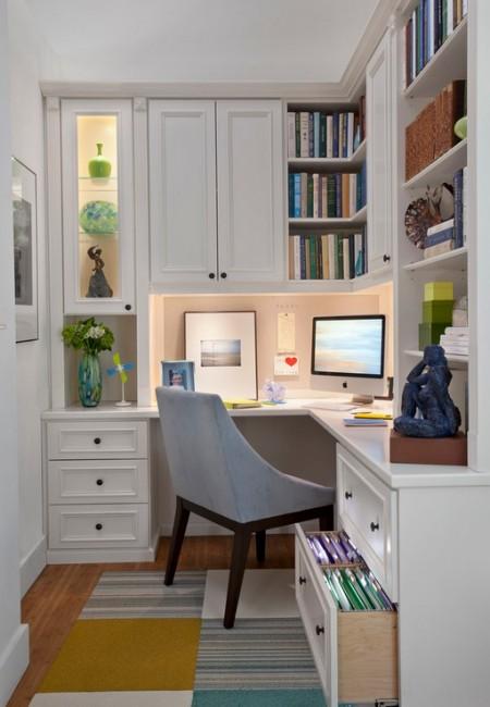 Poze Birou si biblioteca - Un spatiu neinsemnat transformat intr-un birou atractiv si functional