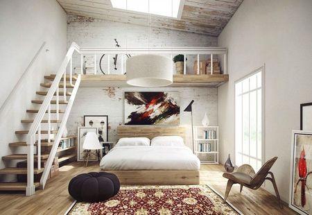 Poze Dormitor - Luminatorul din tavan si corpul de iluminiat masiv se completeaza reciproc in acest dormitor modern