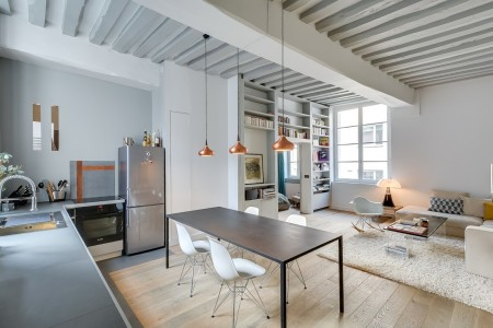 Poze Sufragerie - Zona de zi moderna in care locul de servit masa comunica deschis atat cu bucataria cat si cu livingul