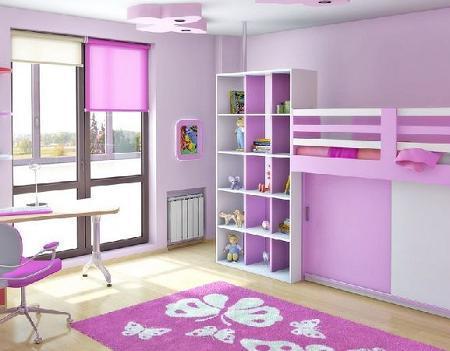 Poze Copii si tineret - Combinatie de roz cu culoarea delicata a florilor de liliac in camera copilului