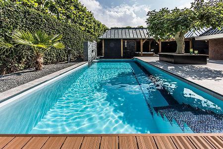 Poze Piscina - Curte cu piscina  ce asigura intimitate cu ajutorul unui gard imbracat in vegetatie
