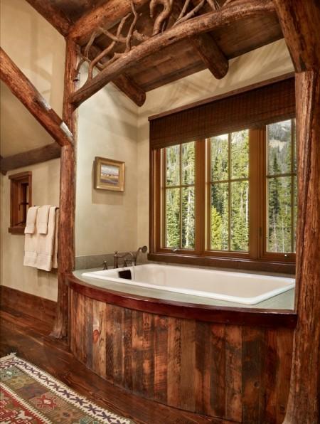 Poze Case lemn - Baie rustica intr-o cabana din lemn