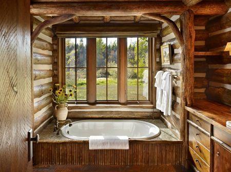 Poze Baie - Baie rustica intr-o cabana din lemn rotund