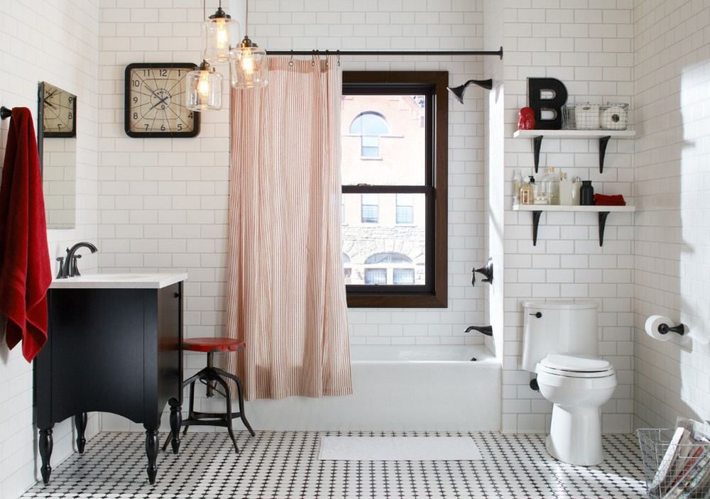 Alb, negru si rosu in baie