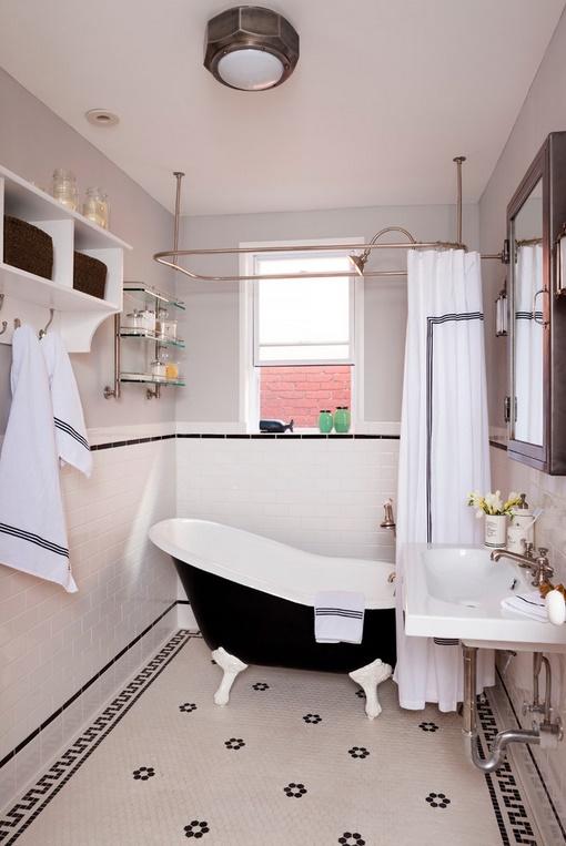 Alb si negru intr-o baie decorata in stil vintage