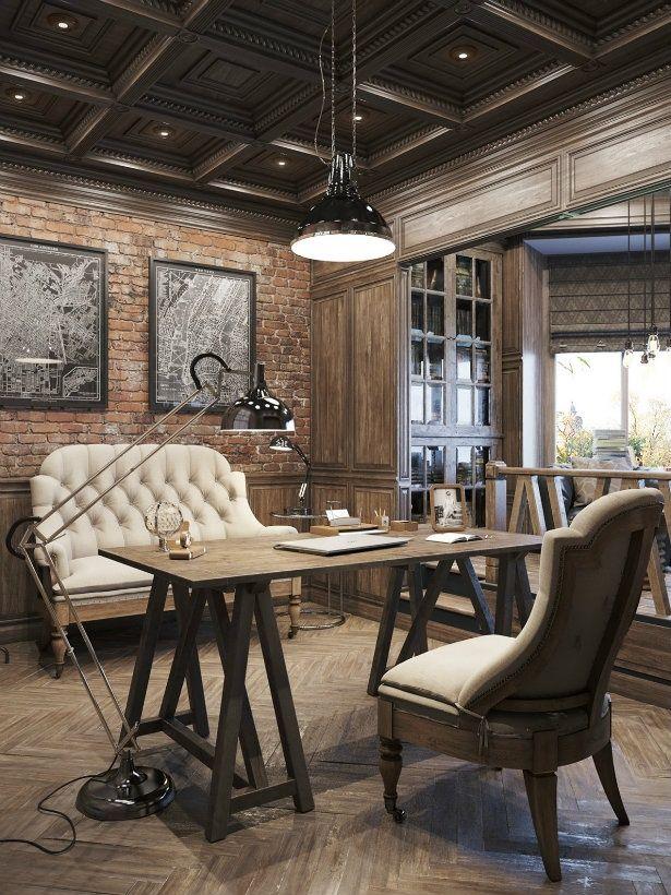 Birou design interior stil clasic industrial