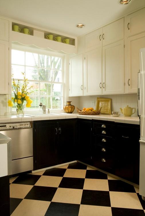 Alb si negru in decorarea bucatariei