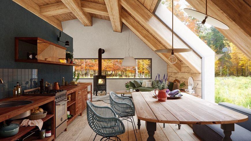 Bucataria unei case moderne cu detalii rustice