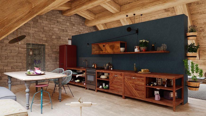 Bucataria cu mobilier minimlist realizat din lemn