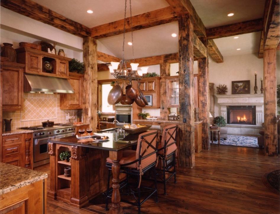 Bucatarie rustica intr-o casa de vacanta la munte