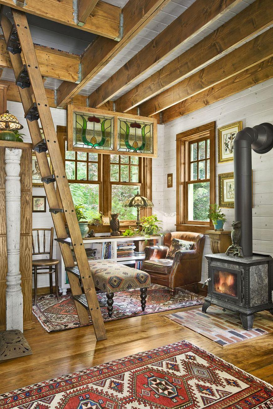 Zona de zi cabana din lemn