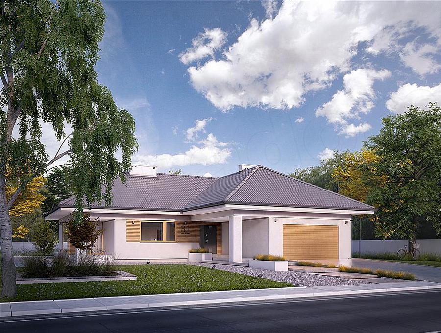 Casa in forma de T, fara etaj, cu 4 dormitoare si garaj pentru 2 masini