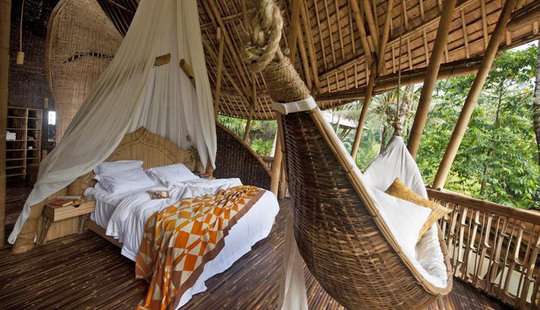 Dormitor din bambus, casa din bambus