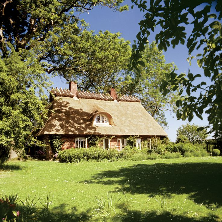 Casa cu acoperis de stuf si curte cu iarba