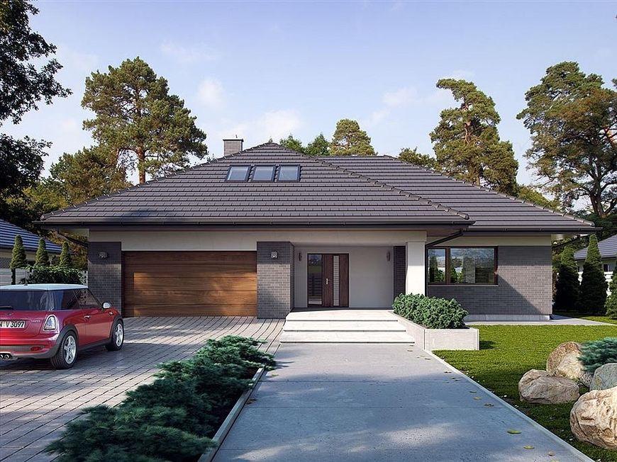 Casa cu fatada decorata cu caramida aparenta, garaj dublu si pod mansardabil