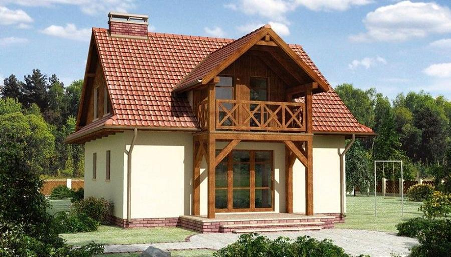 Casa cu parter si mansarda. O locuinta cu balcon din lemn, lucarna si 3 dormitoare