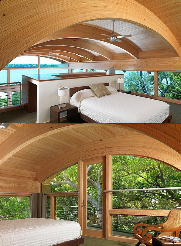 Dormitor la mansarda printre copaci