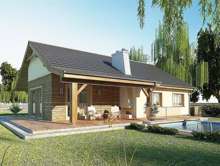 Casa fara etaj cu trei dormitoare terasa si garaj for Proiecte case cu etaj si terasa