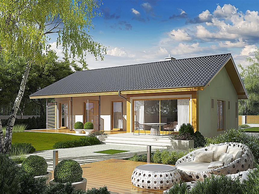 Casa eficienta energetic cu camere cu iesire pe terasa si living cu perete de sticla