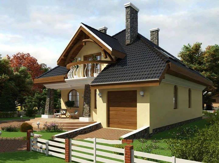 O casa cu mansarda cu fatada amenajata in galben pal