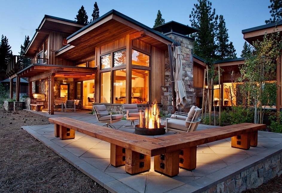 O casa moderna realizata cu cele mai traditionale materiale de constructie: lemnul si piatra