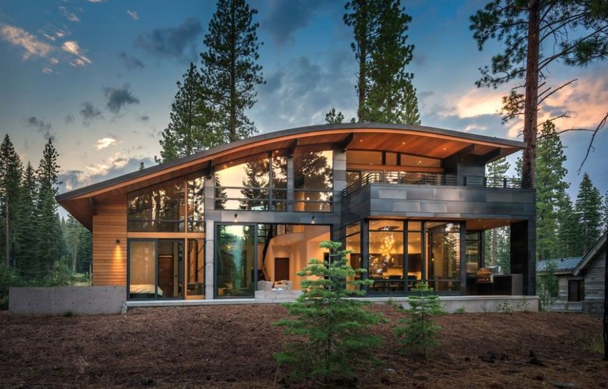 Casa Moderna Din Lemn Cu Acoperisul Curbat