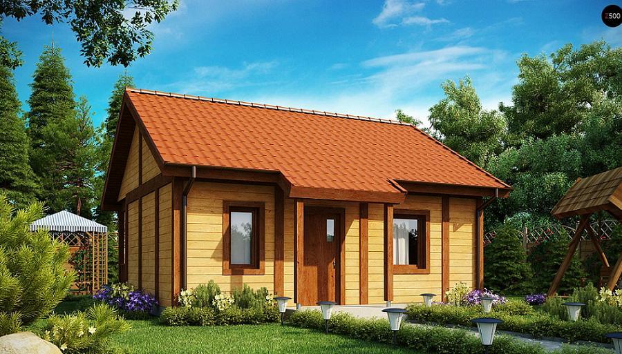 Casa mica din lemn cu living si un dormitor. O locuinta de 36 de metri patrati