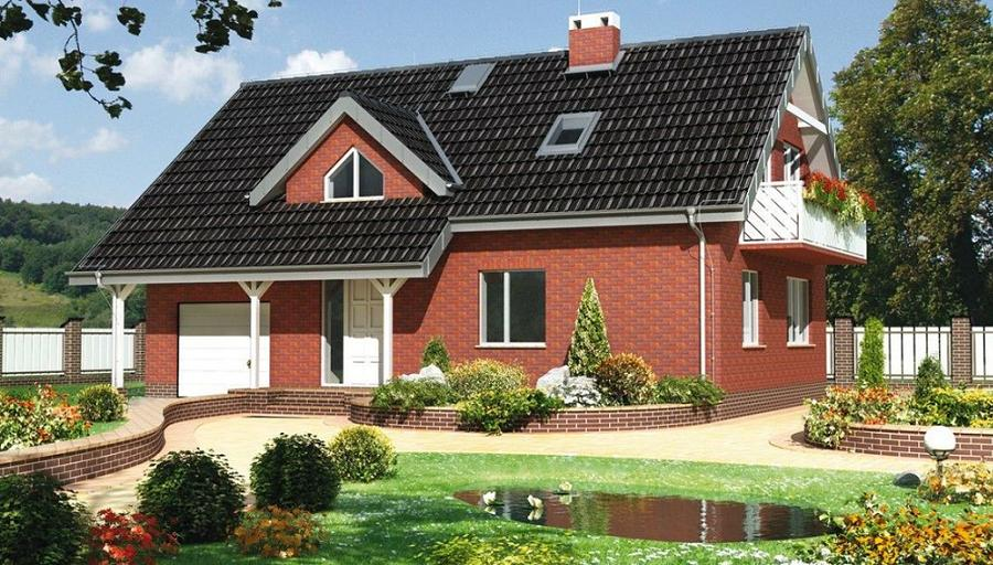 Casa contemporana, placata cu caramida, cu aspect clasic
