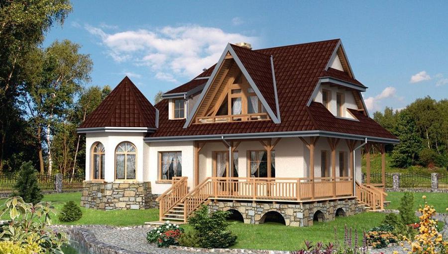 Casa cu aspect rustic - locuinta cu prispa si demisol partial placat cu piatra