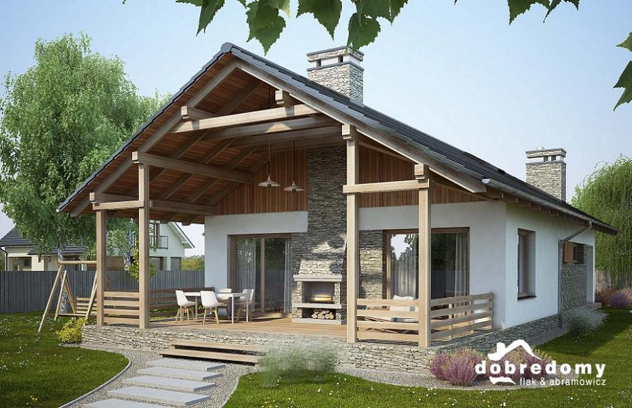 Casa cu acoperis in 2 ape, 2 camere si terasa mare