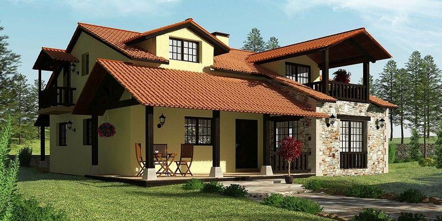 Casa cu terase si elemente traditionale din piatra si lemn for Case cu terase