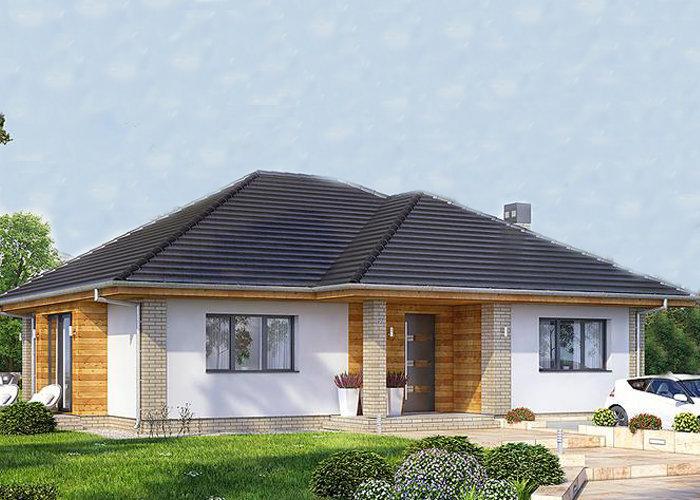 Casa pe un singur nivel cu suprafata de 150 mp, 3 dormitoare si fatada alba, partial placata cu lemn