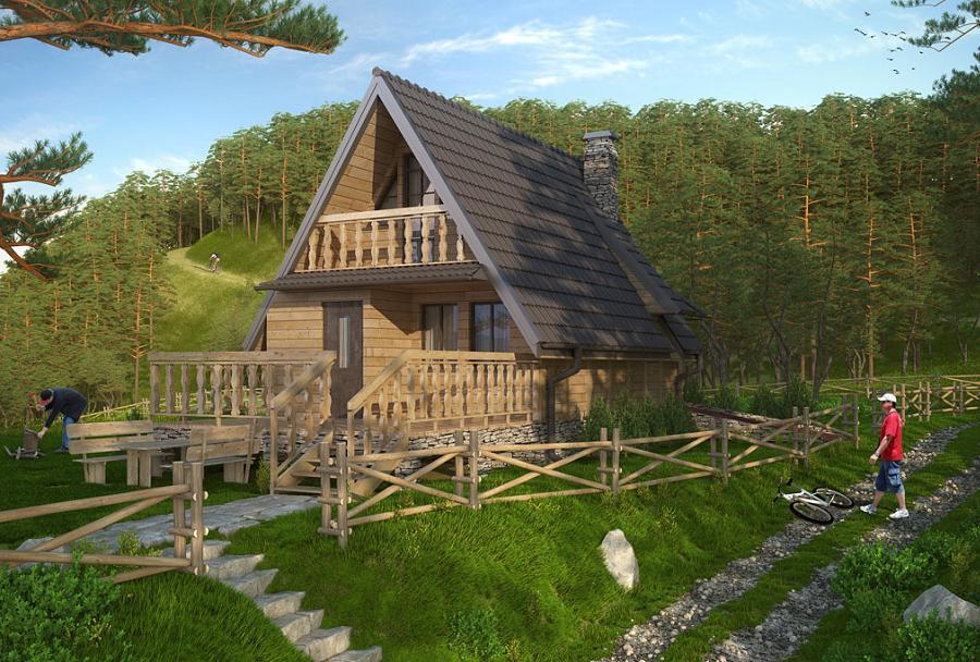 Casa de vacanta cu 2 dormitoare, construita din cadre si panouri de lemn