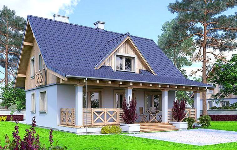 Casa cu veranda si cu mansarda de lemn