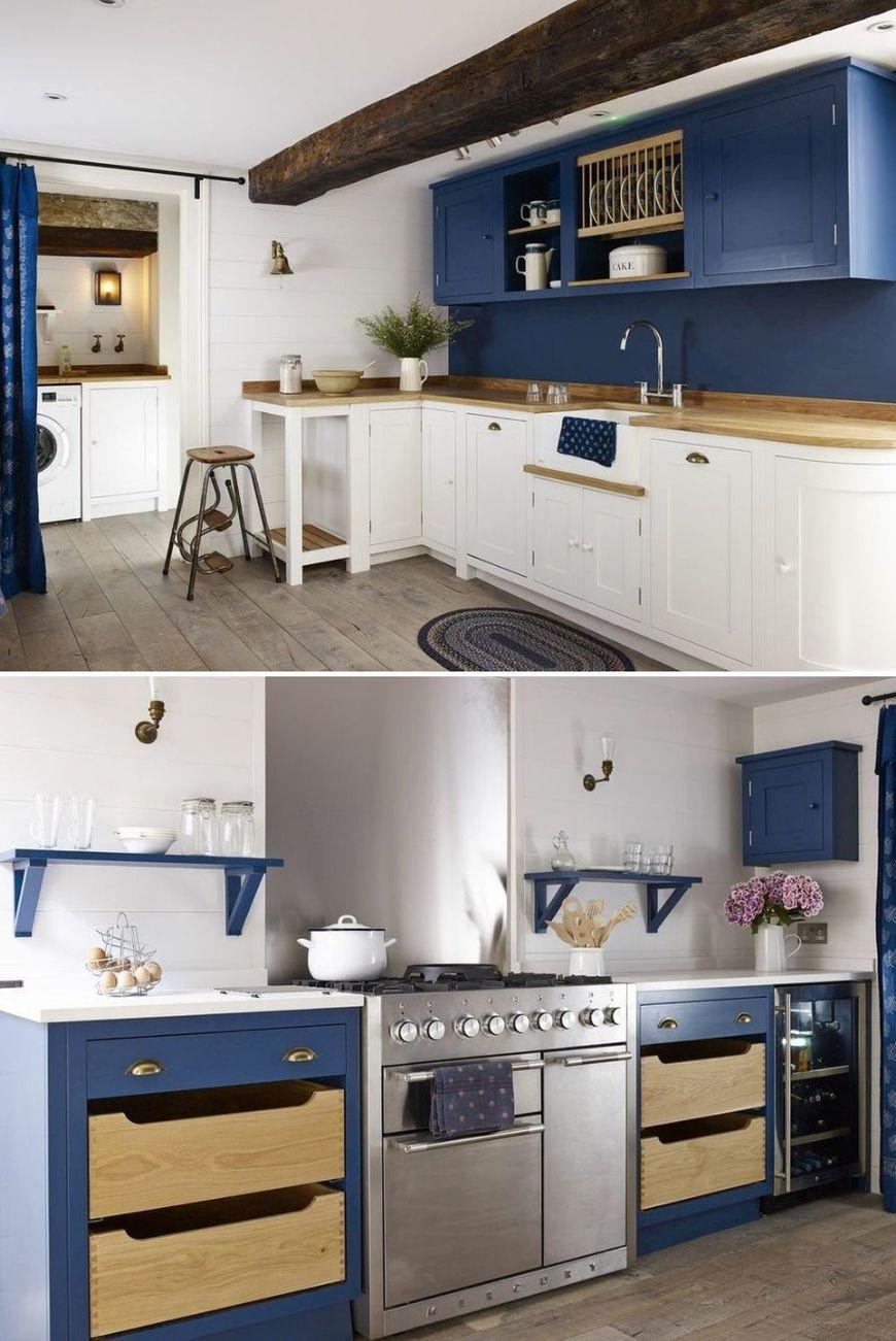 Bucatarie vintage alb-albastra