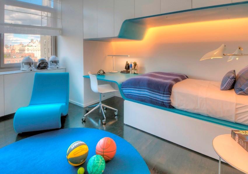 Design interior futurist pentru camera unui baiat