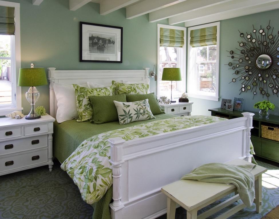 Alb si verde in dormitor