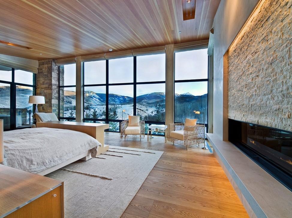 Dormitor modern intr-o casa de vacanta montana