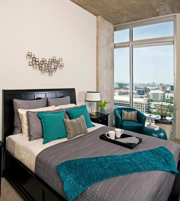 Dormitor modern cu finisaje industriale