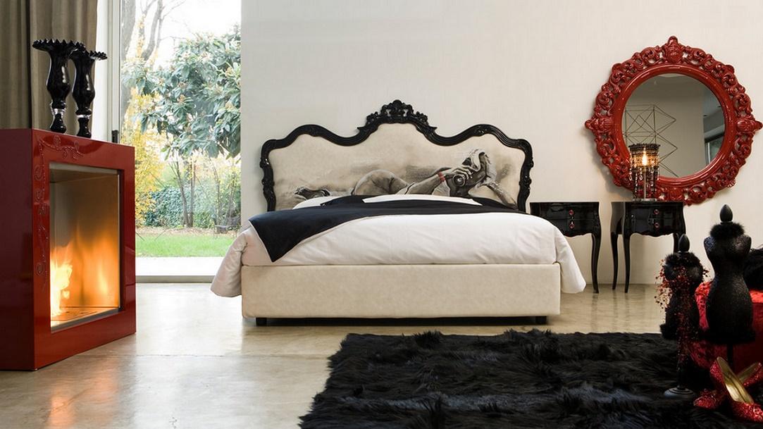 Dormitor rosu-alb-negru