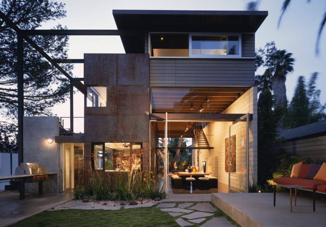 Fatada moderna cu finisaj din cupru - Limposante residence contemporaine de ehrlich architects ...