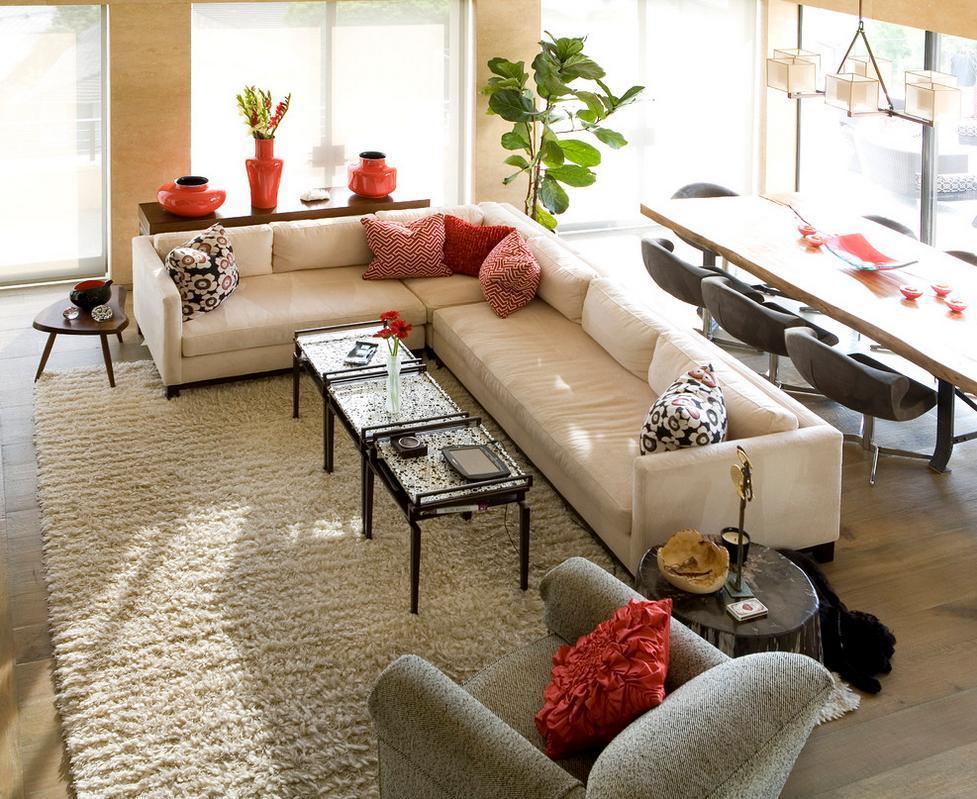 Living modern, decorat in culori de baza calde