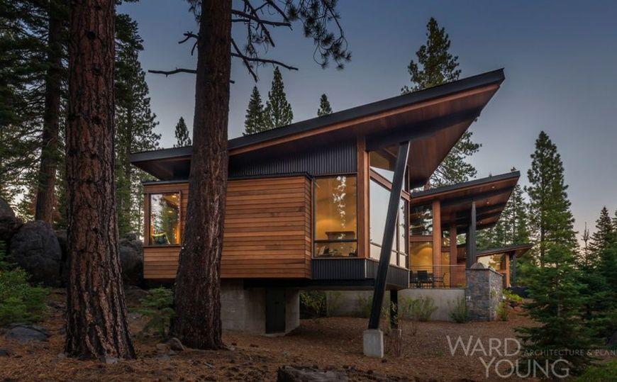 Casa moderna construita din lemn, otel si sticla