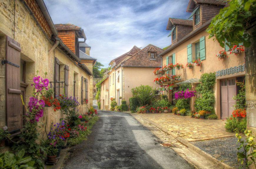 Flori multicolore si case vechi