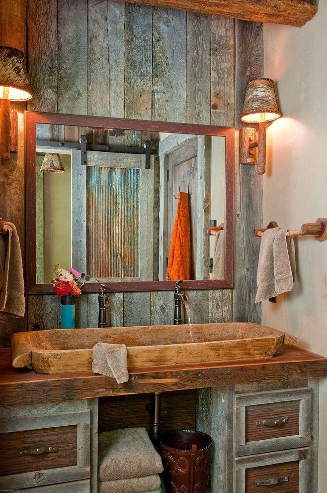Amenajare baie in stil rustic