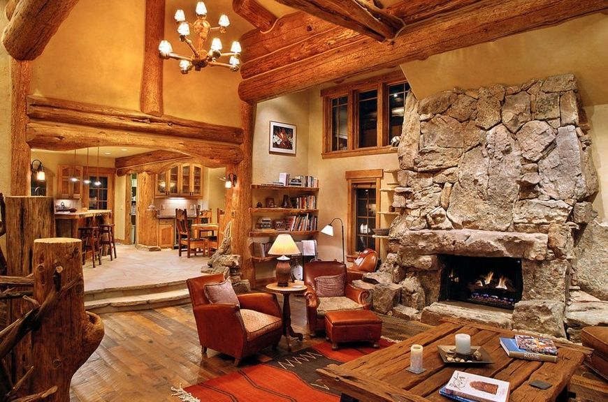 Living casa construita din materiale naturale
