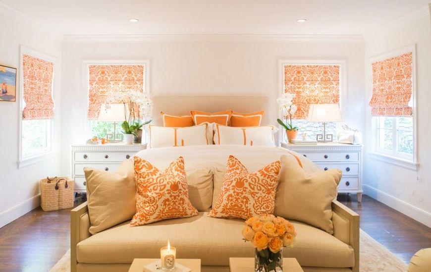 Storuri romane, perne decorative, trandafiri portocalii