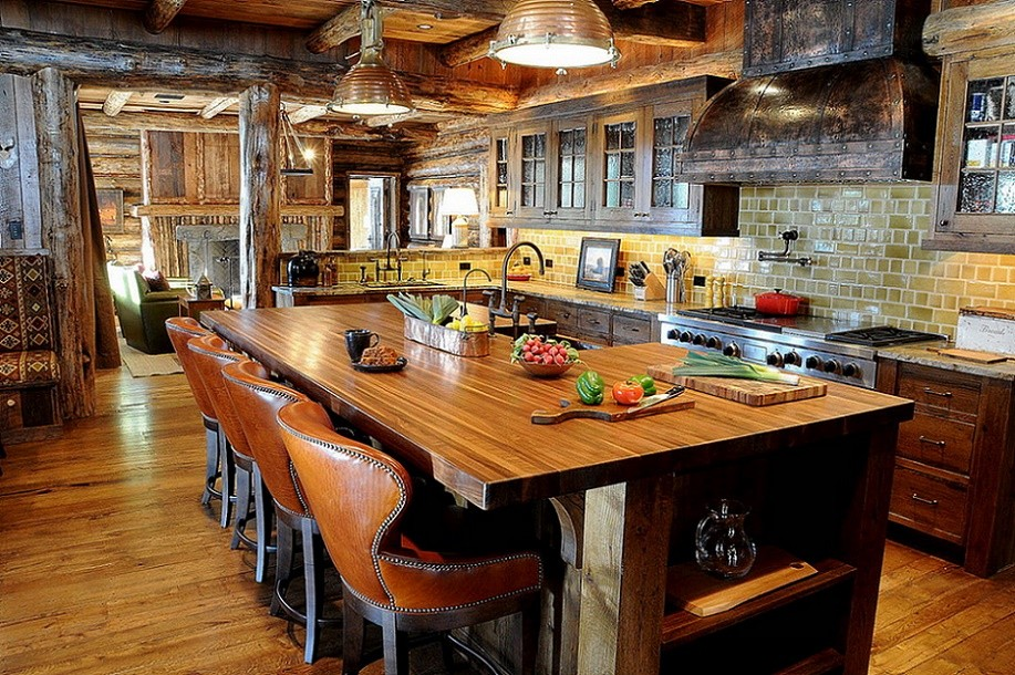 Bucataria rustica a unei cabane din lemn