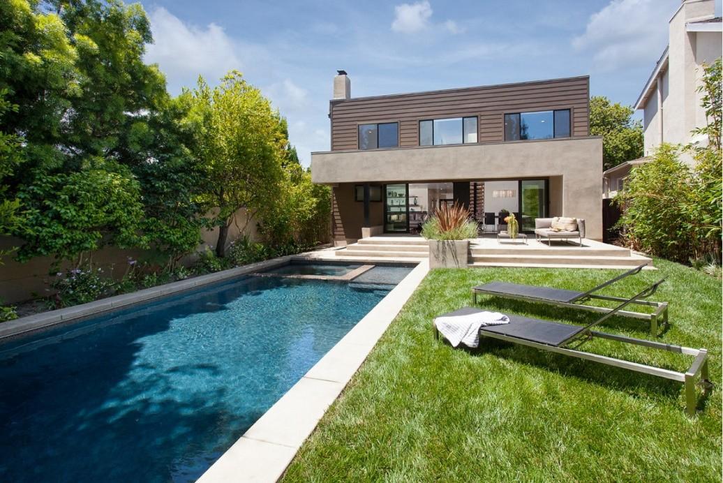 Piscina si casa moderna for Casa moderna piscina